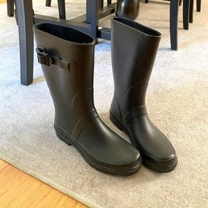 Black Rubber Rain boots with Buckle Detail